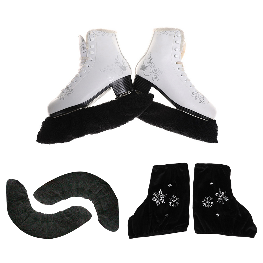 1 Pair Ice Figure Skate Boot Covers Protector & Skating Velvet Blade Soaker S M L