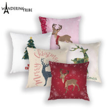 Merry Christmas Throw Pillow Case Cartoon Santa Claus Deer Sofa Bed Cushion Cover White Home Decor Pillows Covers Cushions Cases(China)