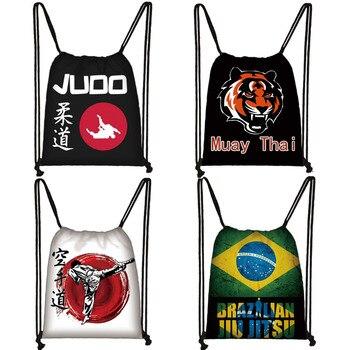Martial Art Judo / Muay Thai Karate /Jujitsu Drawstring Bag Boys Girls Backpack Men Travel Women Storage Bags Kids Bookbag - discount item  5% OFF Special Purpose Bags
