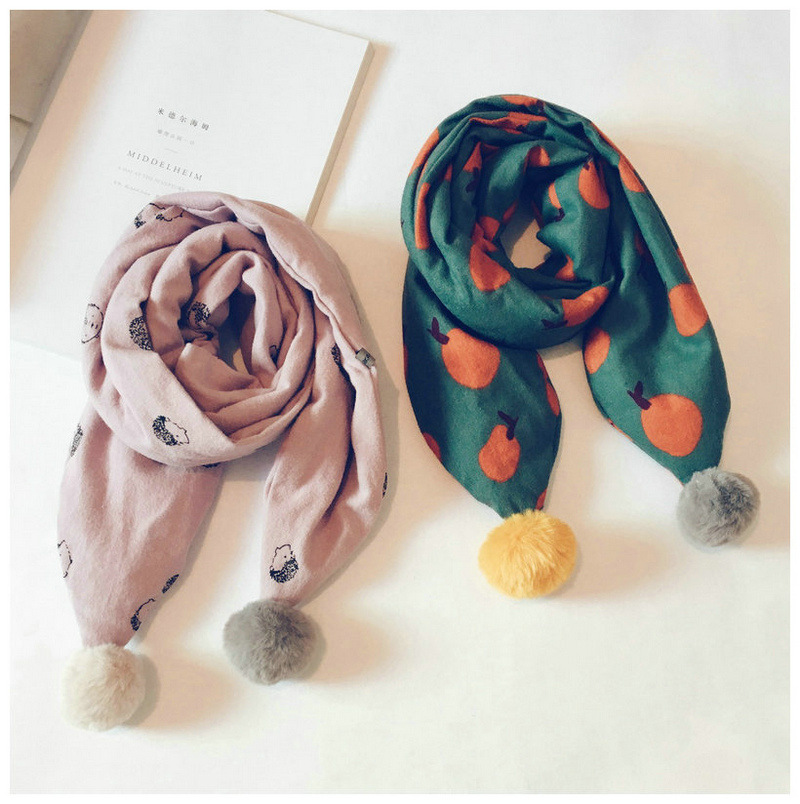 Korean Cartoon Print Hair Ball Soft Warm Fall Winter Thick Kids Children Boys Girls Shawls Wraps Scarves Accessories-LHC