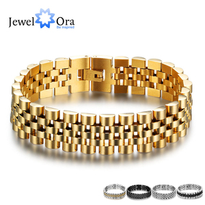 Luxury Gold Color Stainless Steel Bracelet 200mm Wristband Men Jewelry Bracelets Bangles Gift for Him (JewelOra BA101608)(China)