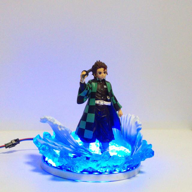 Demon Slayer Figure Tanjirou Led Water Scene PVC Action Figures Kimetsu no Yaiba Anime Figure Collectible Model Toys Diorama