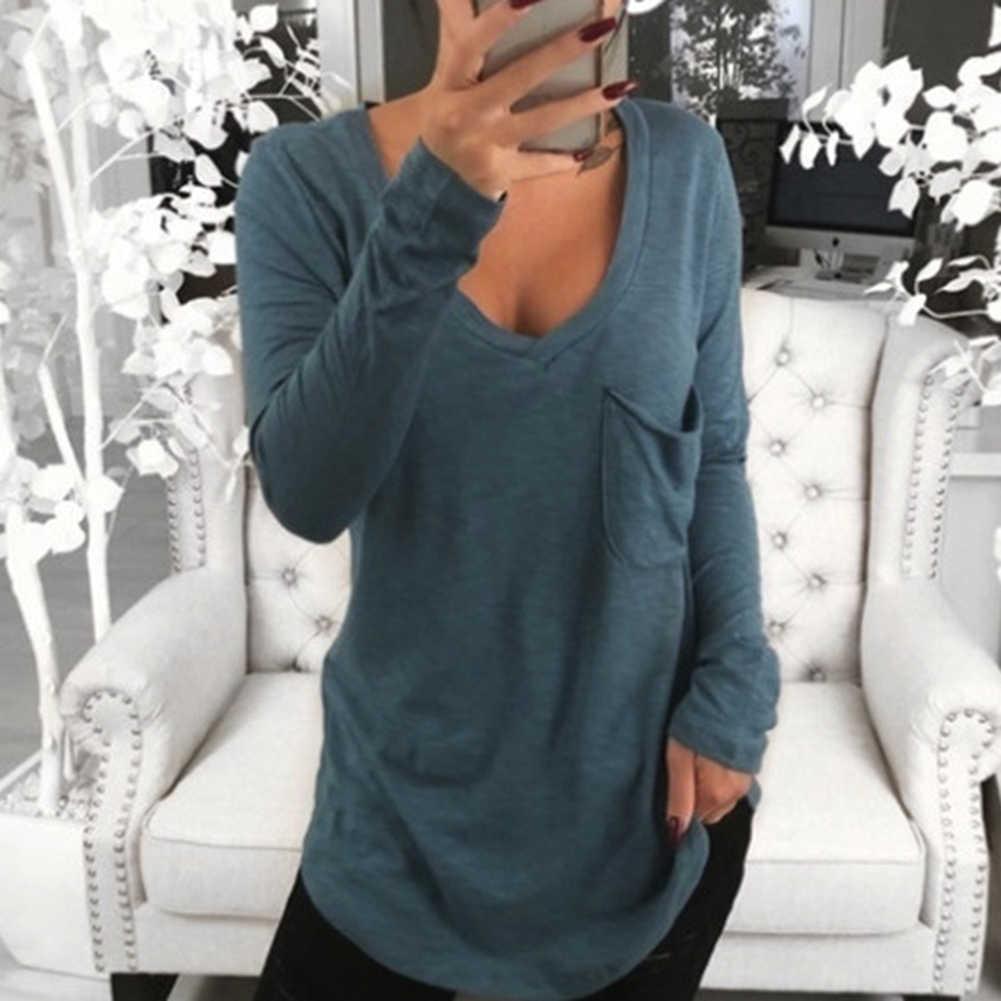 Fashion Seksi Wanita Warna Solid Kapas Leher V Lengan Panjang Atasan Depan Saku Tunik Longgar T Shirt untuk wanita Wanita