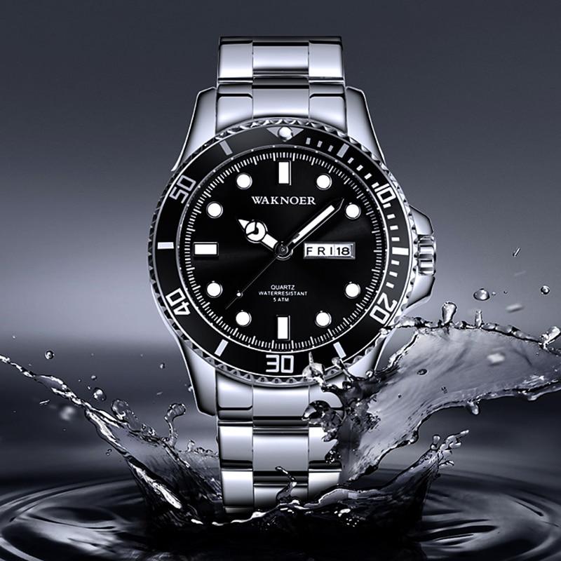 WAKNOER Business Watch Men Brand Men's Quartz Watches Luminous Wristwatch Calendar Male Clock reloj hombre relogio masculino
