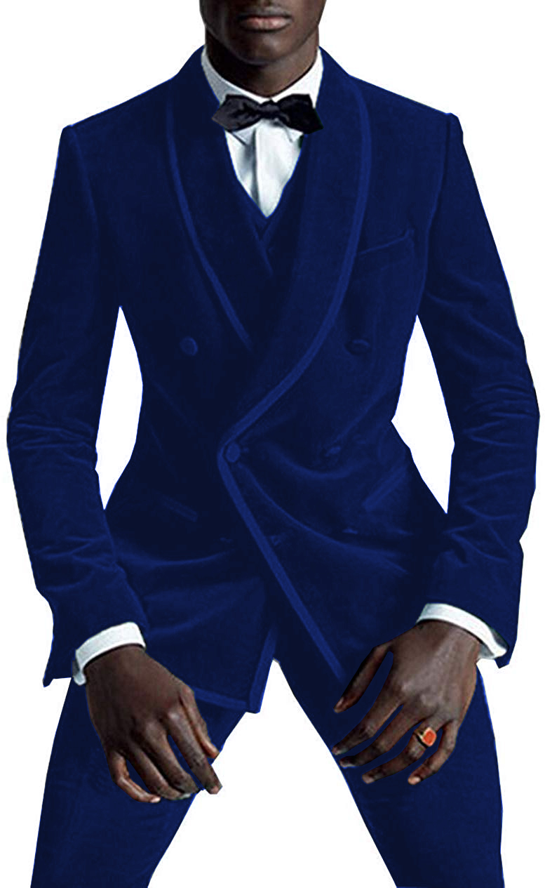 Mens Fashion Suits Business Velvet Groomsman 3 Pieces Wedding Double Breasted Tuxedos (Blazer+Vest+Pants)