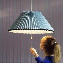 Тканевый зонтик подвесной светильник в скандинавском стиле синий