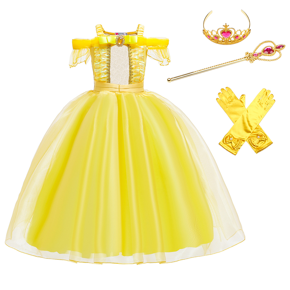 Halloween Children Sleeping Beauty Costume Princess Aurora Dress Up Party Costume Long Sleeve Cosplay  Dress Kids Clothing 3-10T