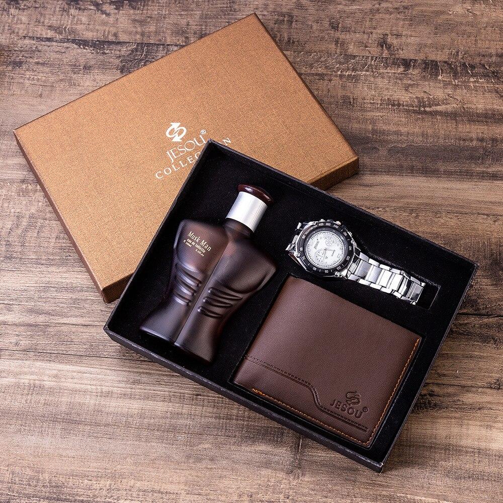 Waterproof Wristwatch Set -6pes/set Men's Gift Set Beautifully Packed Watch+Belt Tie Wallet Simple Combination Men