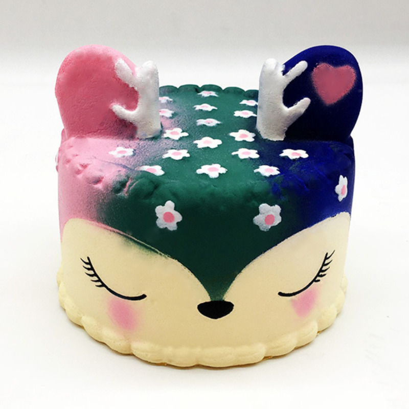 Kawaii Colorful Deer Cake Unicorn Squishy Food Slow Rising Soft Squeeze Toys For Children Sweet Scented Relieve Stress Toys Gift