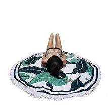 CAMMITEVER עלה מצויץ גדילים עגול חוף לזרוק שטיח Boho צועני כותנה מפת שולחן חוף מגבת חוף לעטוף לחפות יוגה מחצלת