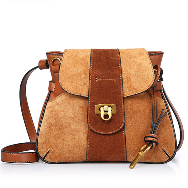 Genuine Leather Women Handbags High Quality Shoulder Bag Female 2019 Lady's Messenger Bags Cotton Nubuck Women Bags Flap WBS076-in Shoulder Bags from Luggage & Bags    1