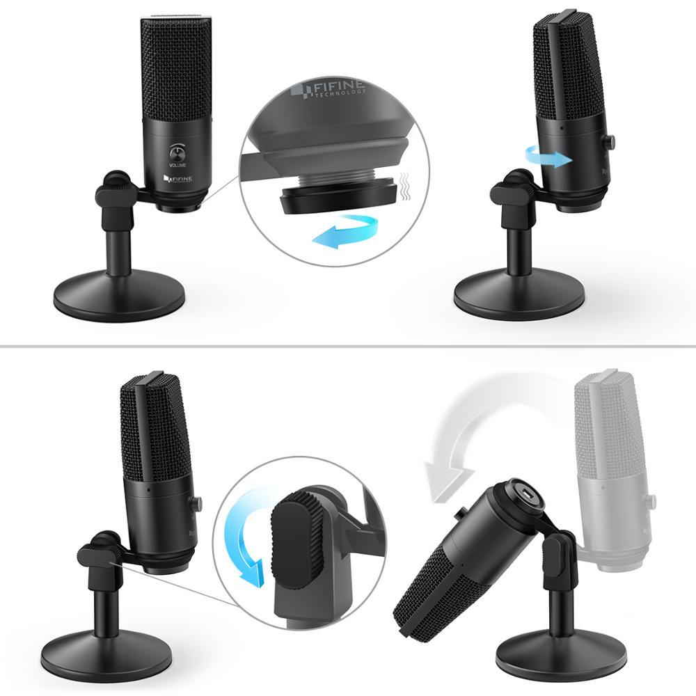 Microphone USB FIFINE pour Mac/ pc Windows, micro Vocal pour multi-usages, optimisé pour l'enregistrement, voix off, pour YouTube Skype-K670B - 5