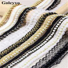 1Meter White Beading Lace Trims Edge Pearl Collar Fabric Colthing Skirt DIY Sewing Crafts Charms