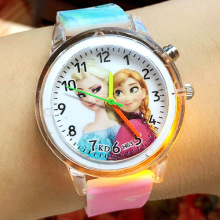 Elsa Children Wrist Watches Spiderman Colorful Light Source Boys Watch Girls Kids Silica Quartz Clock  Relogio Feminino