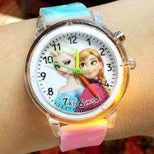Elsa Children Wrist Watches Spiderman Colorful Light Source Boys