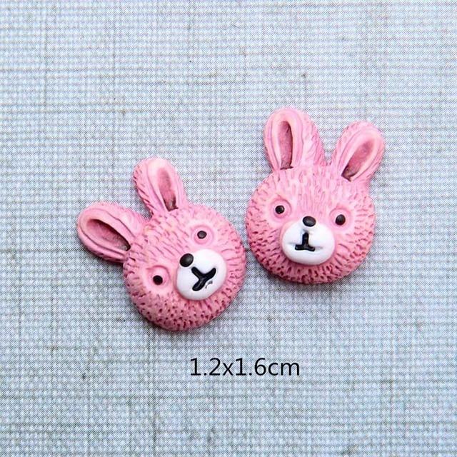 2pcs Kawaii Big Ear Rabbit Resin Flatback Cabochon Scrapbook DIY   Home Figurine DIY Embellishment Crafts 70*50mm