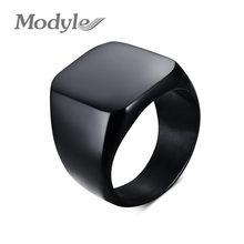 Modyle-anillos de acero inoxidable negro para hombre, Punk Rock, moda, anillo de nombre personalizado, joyería de fiesta, novedad de 2020