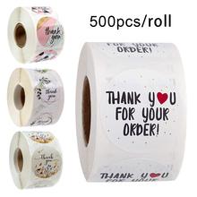 500 sztuk rolka dziękuję naklejki Seal etykiety księga gości naklejka wykonana ręcznie koło artykuły papiernicze jedzenie Hand Made Deco na koperta na prezent tanie tanio FGHGF 8 lat Sticker 25mm-35mm