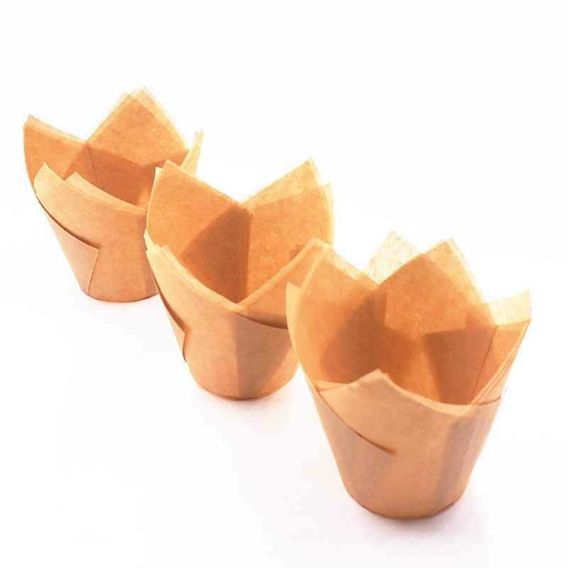 50 本のチューリップの花のカップウェディングパーティー caissettes チューリップマフィン紙コップ耐油ケーキラッパー #25