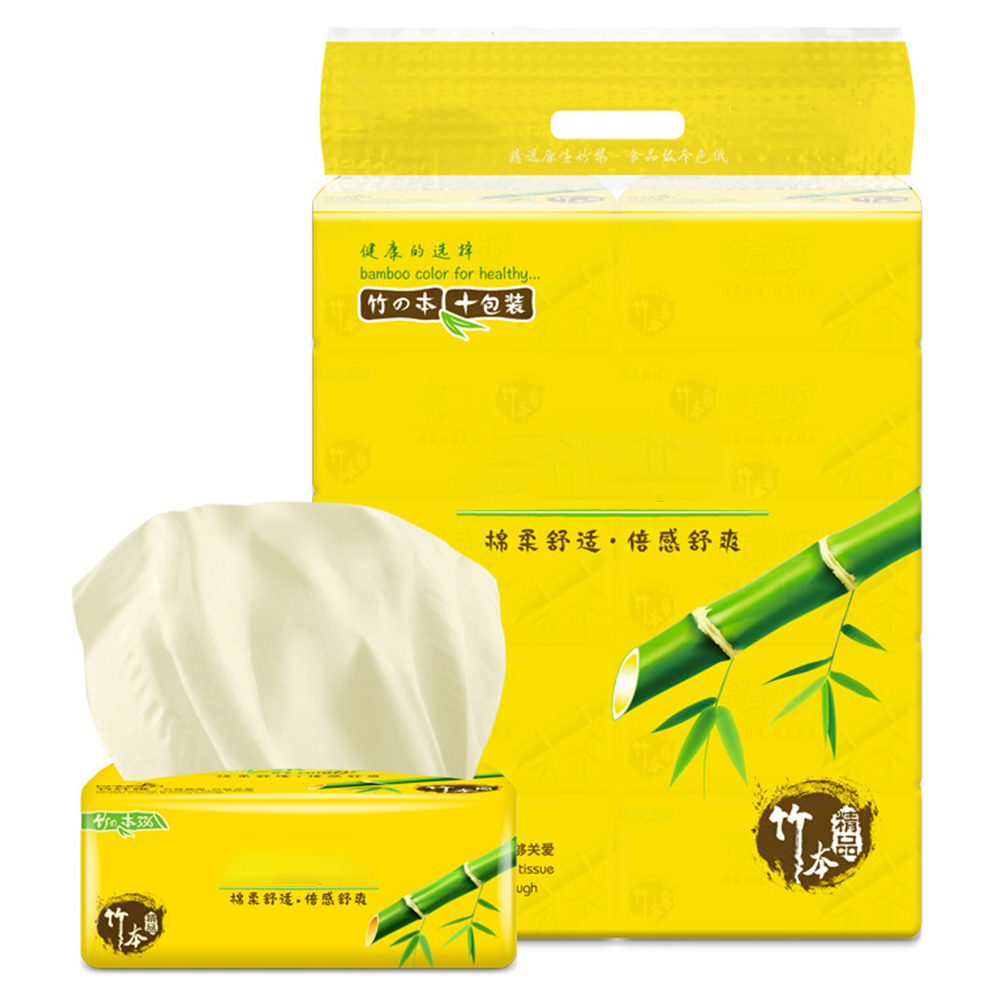 10packs Napkins Pumping Cleansing Office Toilet Paper Skin Friendly Baby Sweat Absorbing Soft Bamboo Pulp Bathroom Facial Tissue