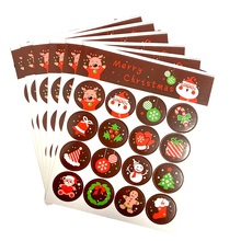 1600pcs/lot Cute Merry Christmas Santa Claus Deer Round Self adhesive sealing Decorative stickers Gift Stationery Wholesale