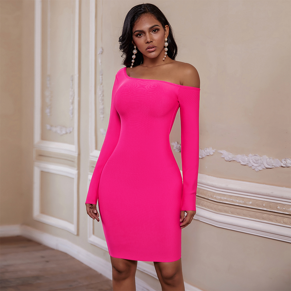 Ocstrade Women 2020 New Arrival One Shoulder Bandage Dress Sexy Hot Pink Long Sleeve Bandage Dress Bodycon Club Party Dress