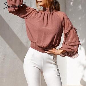 Image 5 - Simplee polka dot print blusa feminina camisa babados manga longa feminino para camisas de cintura alta elástica senhoras blusa camisas feminina