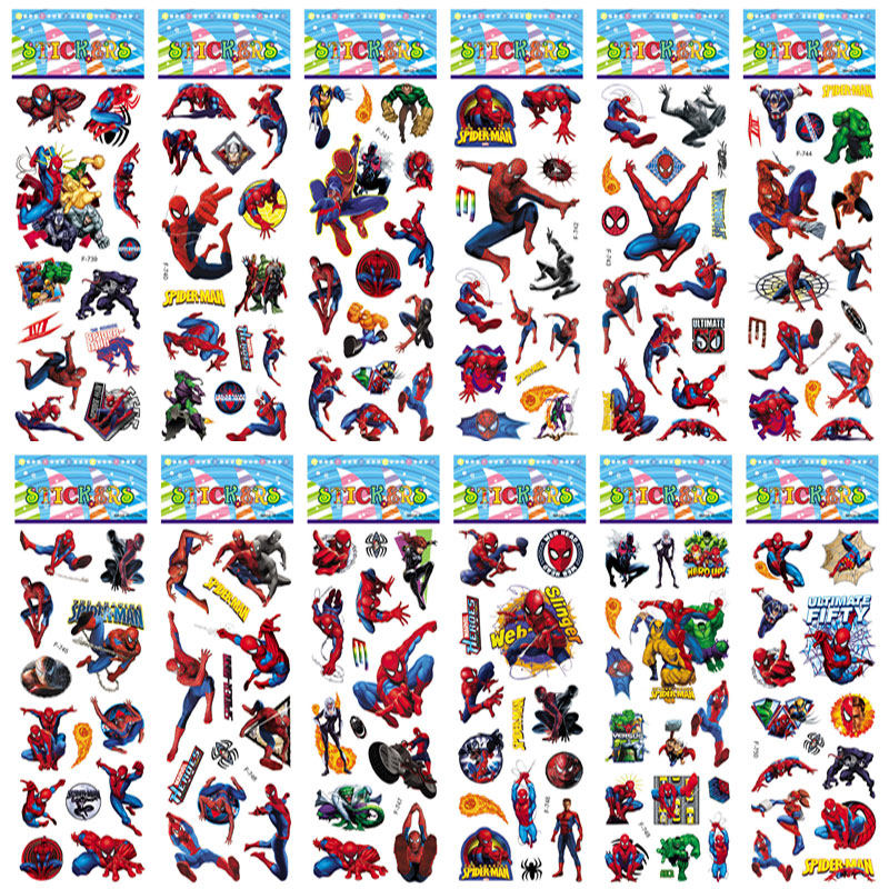 12pcs Spider Man Stickers Pack Avengers Pegatinas SuperHeroes Decals 3D Stickers Bomb For Scrapbooking SpiderMan Graffiti
