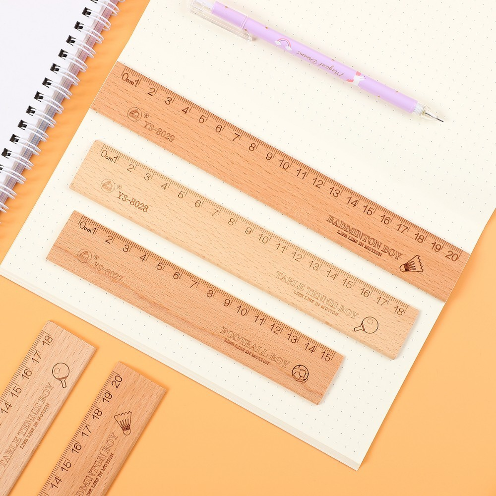 JIANWU 1PC Simple 15cm 18cm 20cm Creative Wooden Ruler Simple Fashion Design Ruler Drawing Supplies Kawaii