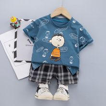 Printed Boys Clothes Toddler Kids Cotton Outfit Striped T-shit + Shorts Summer Children Costume 3 Colors