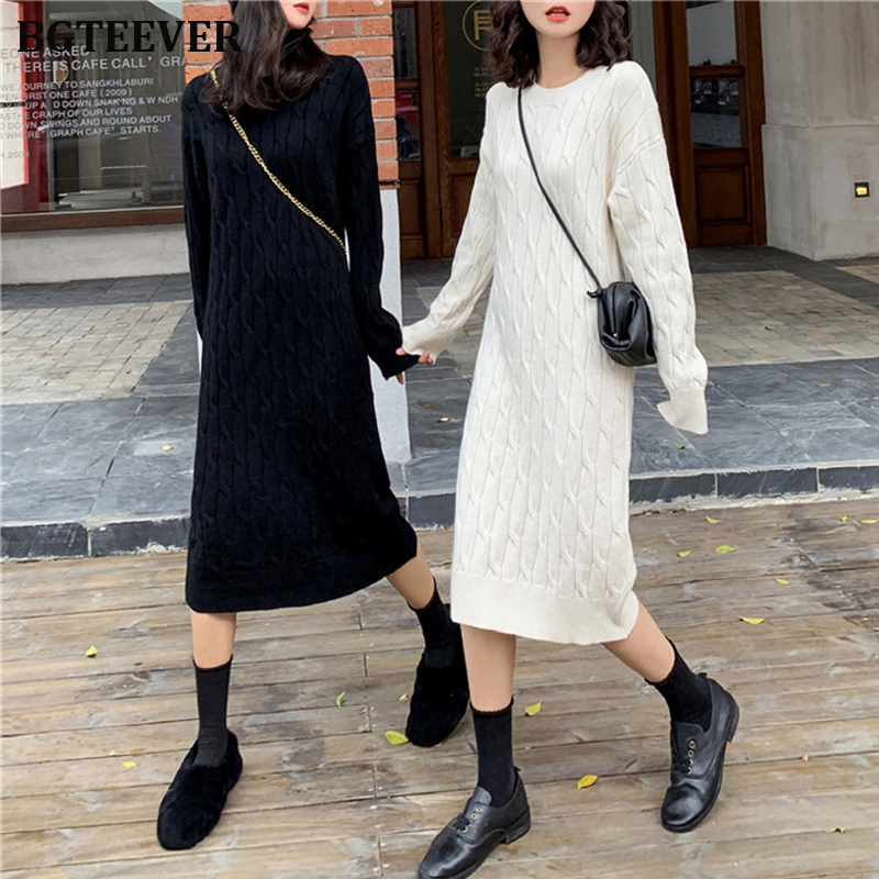 Autumn Winter Women Round Neck Knitting Long Sleeve Jumper Sweater Dress Fashion