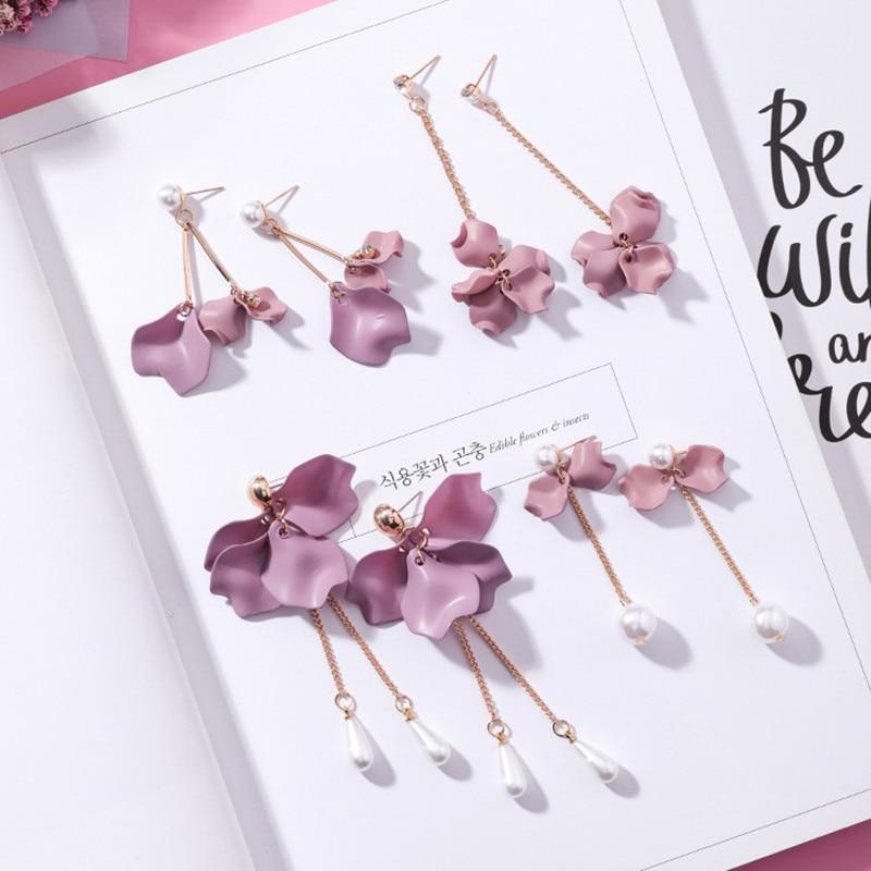 Korean Style Cute Flower Dangle Earrings For Women 2019 New Fashion Sweet Charm Swing Earrings Female Wholesale Jewelry Gift