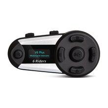 цена на V6 Plus Intercom Motorcycle  Helmet Intercom Bluetooth helmet Headset 1200M 6 Riders Intercomunicador Interphone MP3 FM LED