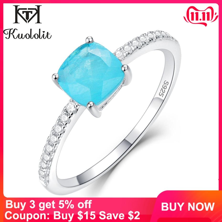 Kuololit Paraiba Tourmaline Gemstone Rings For Women Girls Solid 925 Sterling Silver Emerald Tanzanite Wedding Band Fine Jewelry