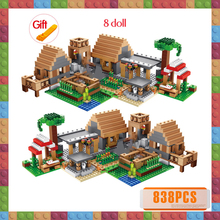 My World The Farm Cottage Building Blocks Technic Compatible Village House Figures Brick Gift Toys for Children