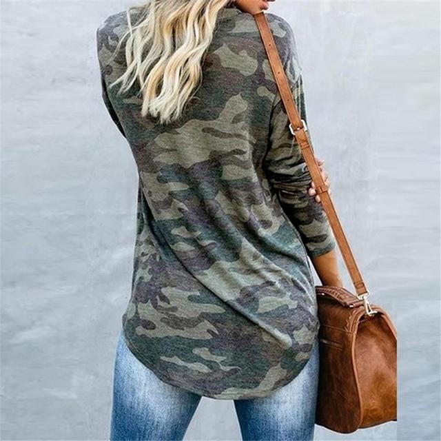 Casual Frauen T-shirt Oansatz Camouflage Camo Hemd Langarm T-shirt Damen Tops Damen T