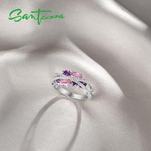 Image 5 - SANTUZZA Silver Rings For Women Genuine 925 Sterling Silver Shimmering Amethyst Pink Cubic Zirconia Trendy Luxury Fine Jewelry