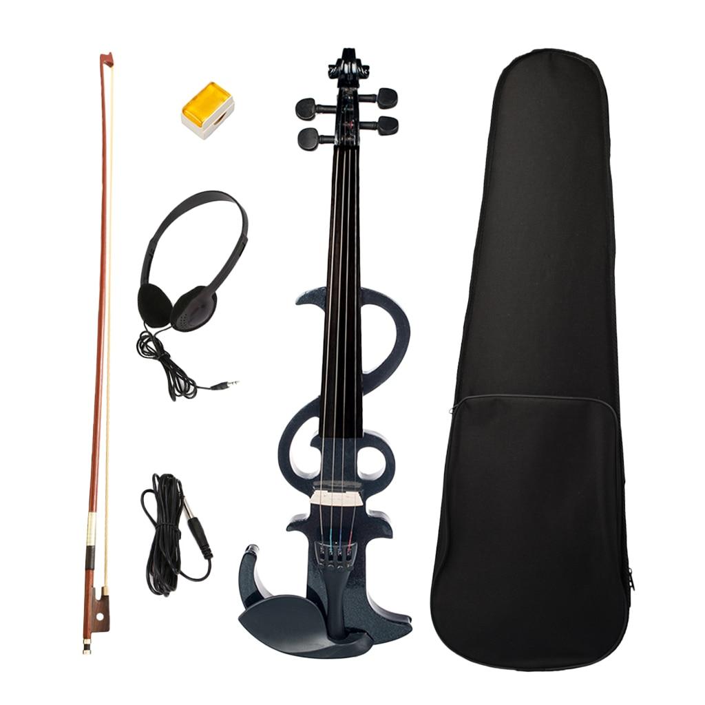 Full Size Electric/Silent Violin Fiddle Kit with Violins Accessories Set for Violinist(Black)