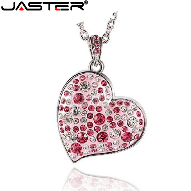 JASTER 100% Full Capacity !Diamond Crystal Heart USB Flash Drive Memory Stick Pendrive 4GB/8GB/16GB/32GB Love Heart Necklace