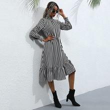 Винтажное женское платье в полоску с оборками Повседневное воротником