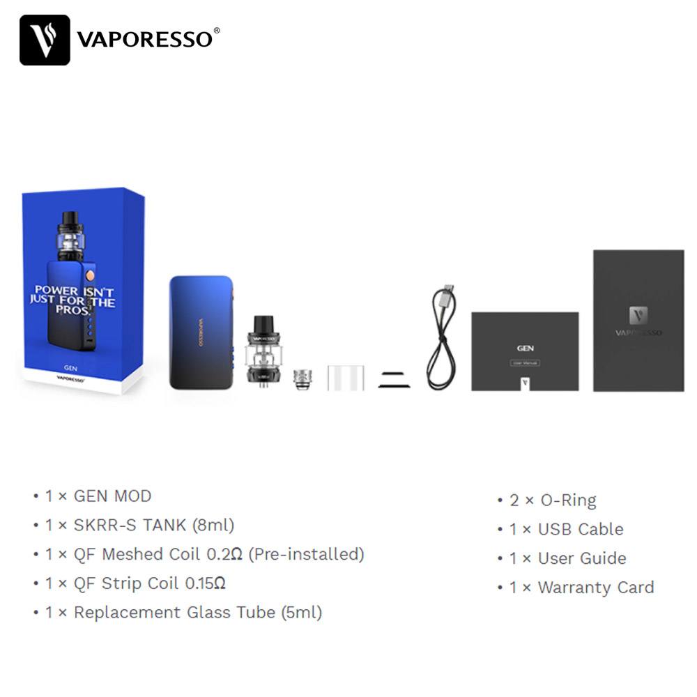 Original Vaporesso Gen Vape Kit 220W Electronic Cigarette with SKRR S Tank Atomizer QF Meshed or GT Coil Core Polar kit upgrade