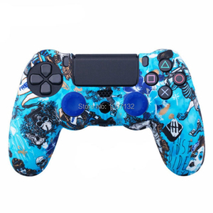 Image 2 - PS4 Camouflage Silicone Skin Protective Case чехол Cover for Sony Playstation 4 Controller for Dualshock 4 Slim Pro Gamepad