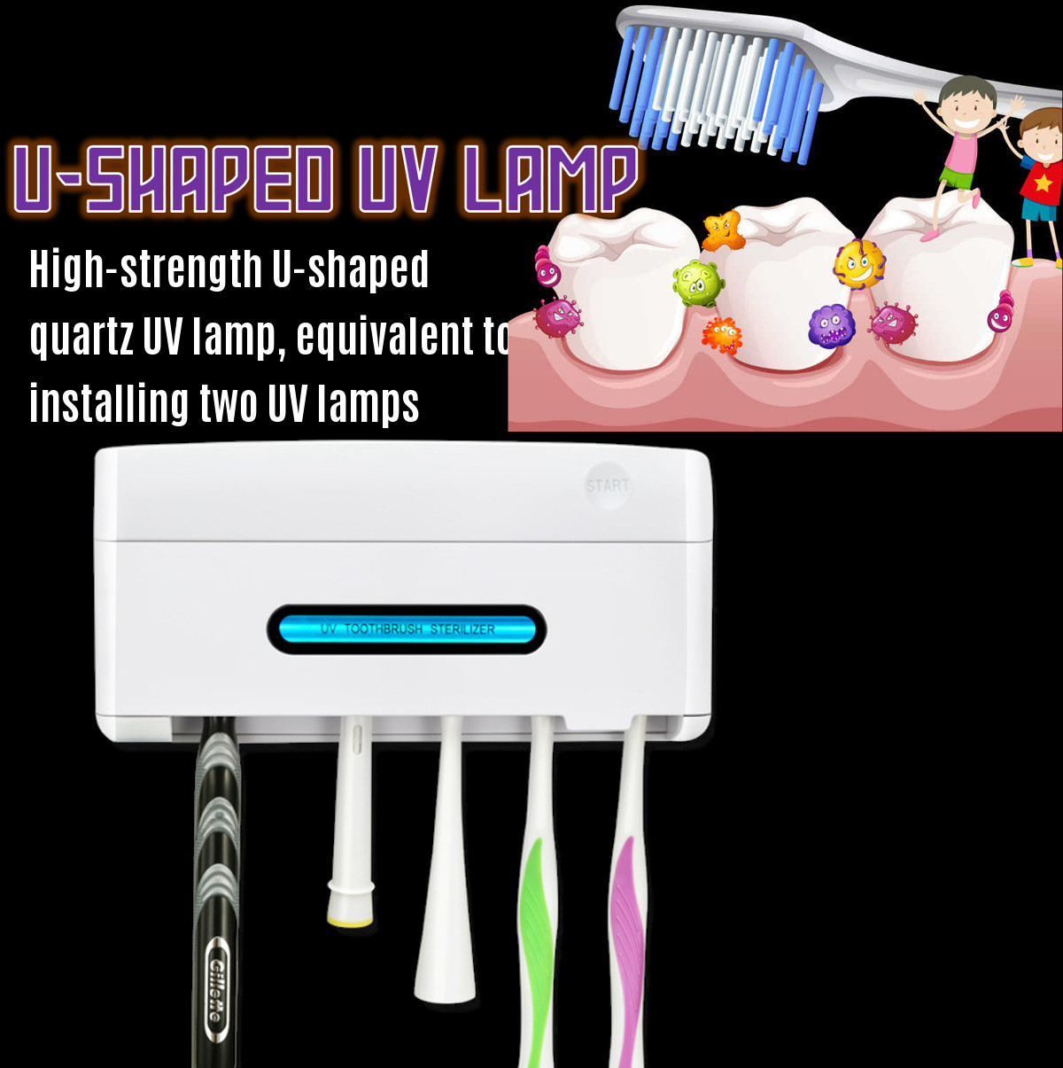 Smart UV Toothbrush Sterilizer Solar Energy Electric Toothbrush Disinfectant Cleaning Antibacteria Ultraviolet Wall Mount Holder image