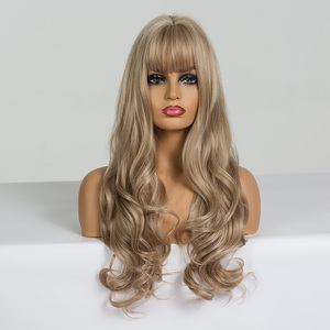 Image 4 - ALAN EATON Long Wavy Wigs for Black Women African American Synthetic Hair Light Brown Wigs with Bangs Heat Resistant Cosplay