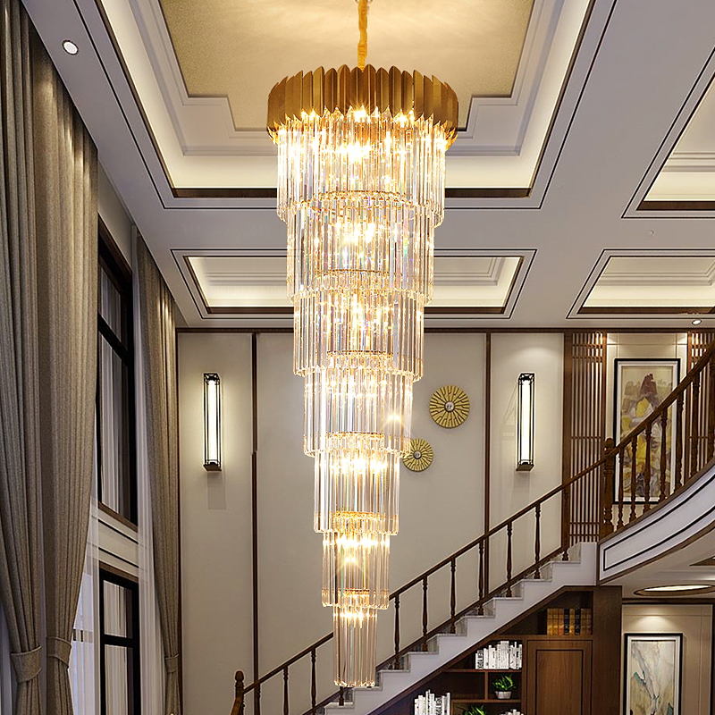 Stairs Long Chandelier Villa Hotel Hall Rotating Large Chandelier Lighting Modern Duplex Floor Living Room Crystal Hanging Light