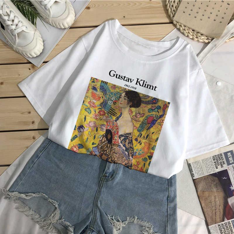 Gustav Klimt list T-Shirt z nadrukiem lato nowych kobiet luźny T-Shirt szykowna, w stylu Harajuku wzór artystyczny obraz olejny moda Top w stylu Vintage