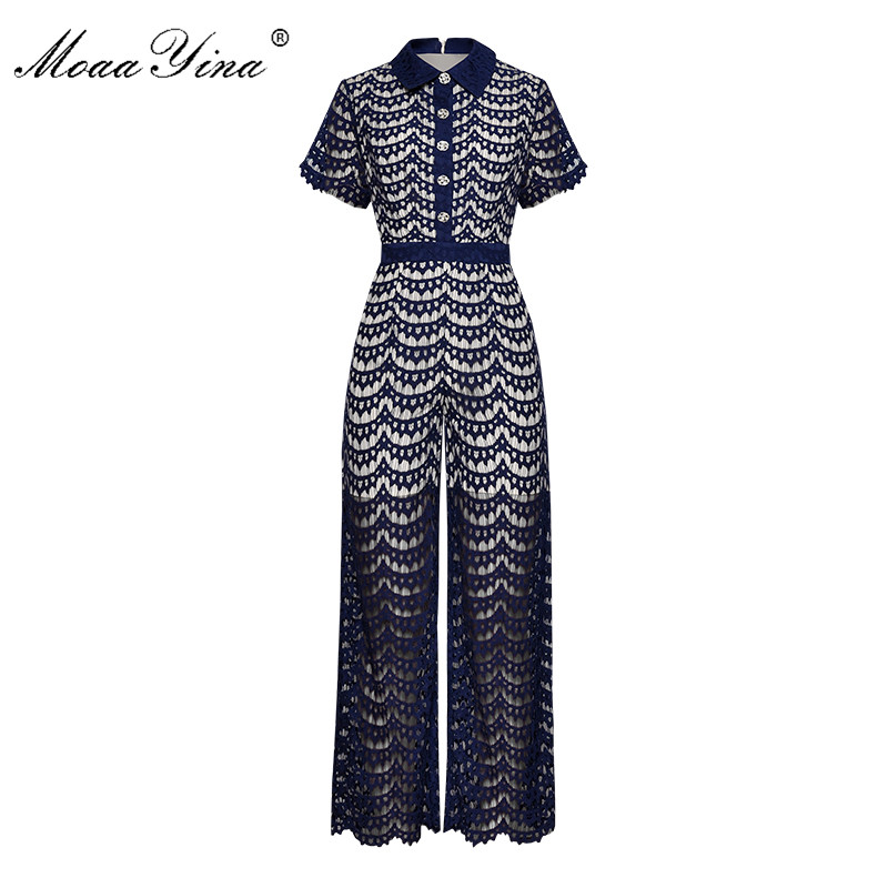 MoaaYina Spring Summer Designer Jumpsuits Women's Turn-down collar Short sleeve Lace Elegant Jumpsuits