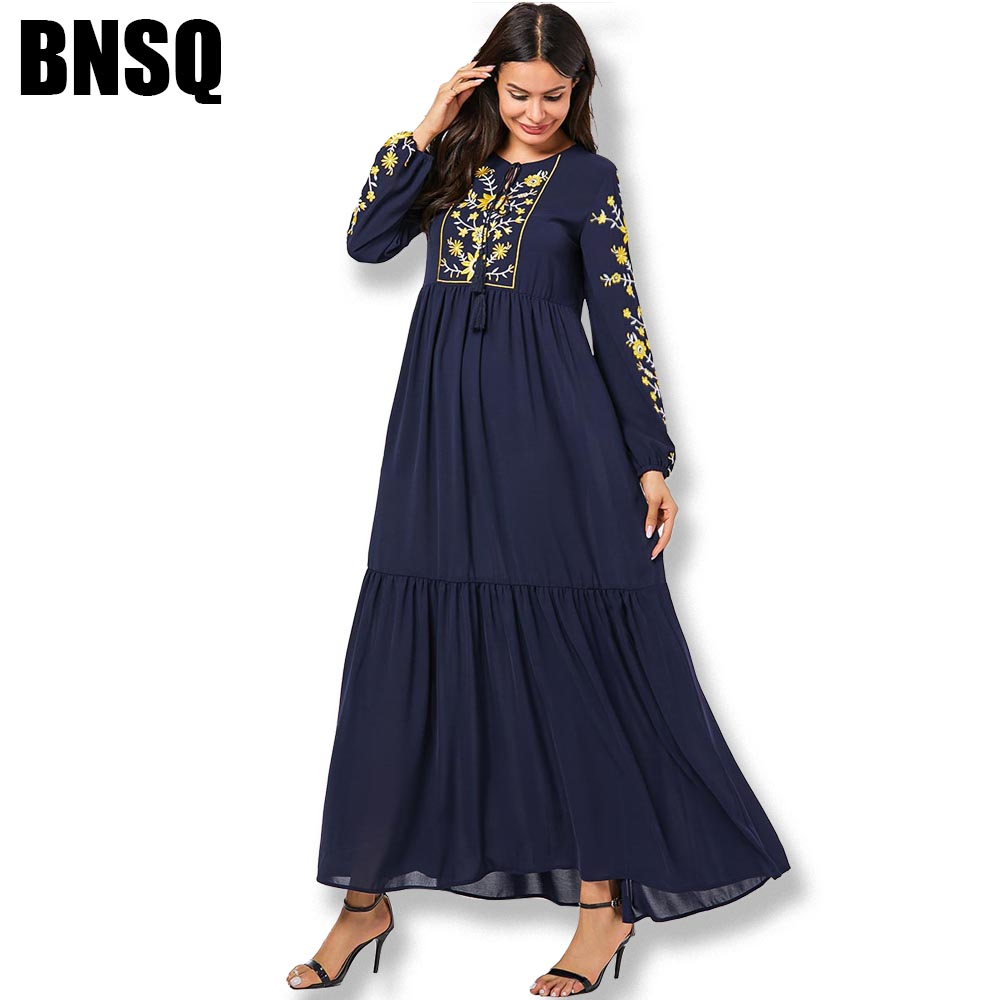 BNSQ Fashion Floral Embroidered Long Dress Autumn Dress Thin Section Dress Thick Velvet Winter Abaya Two Fabric Dress