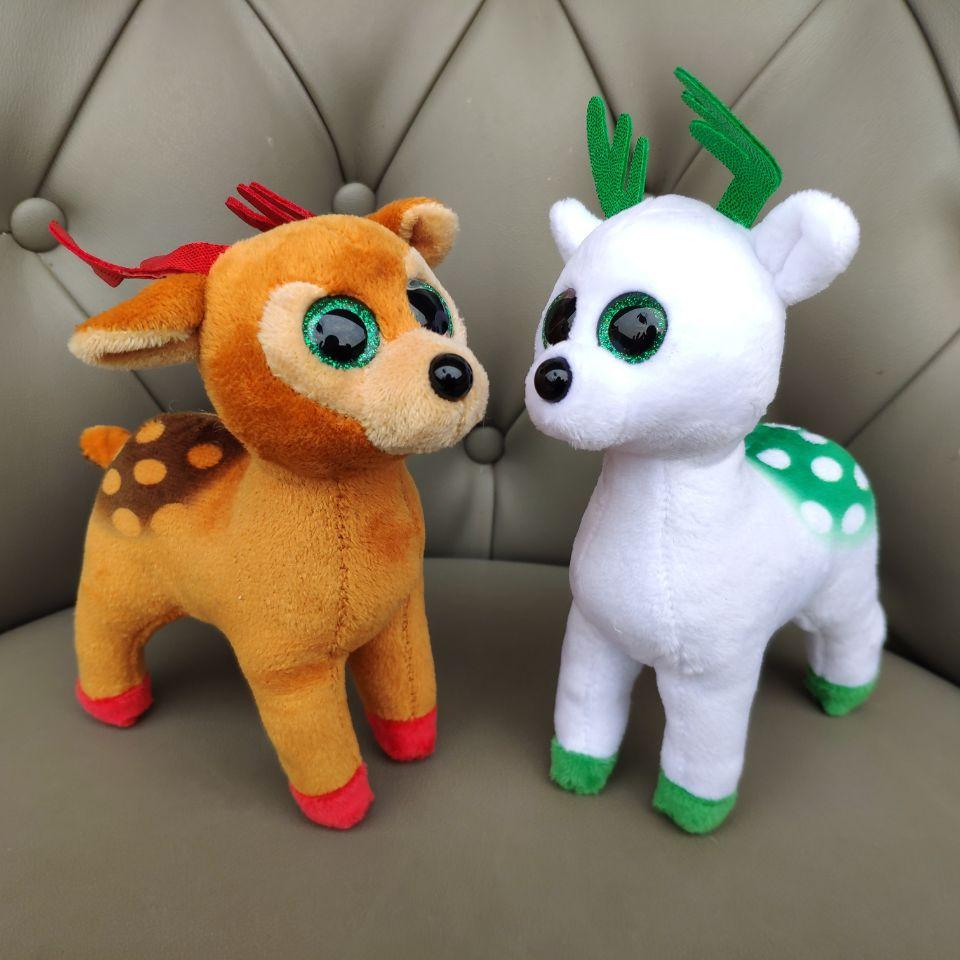 1PC 15CM Peppermint Tinsel Elk Moose Sika Deer Plush Toys Stuffed Animals Soft Toys