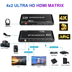 Image 2 - 2020 Best HDMI Matrix 4x2 4K 60Hz HDR HDMI ARC Switch Splitter 4 in 2 out Optical SPDIF + 3.5mm jack Audio HIFI HDMI Switcher